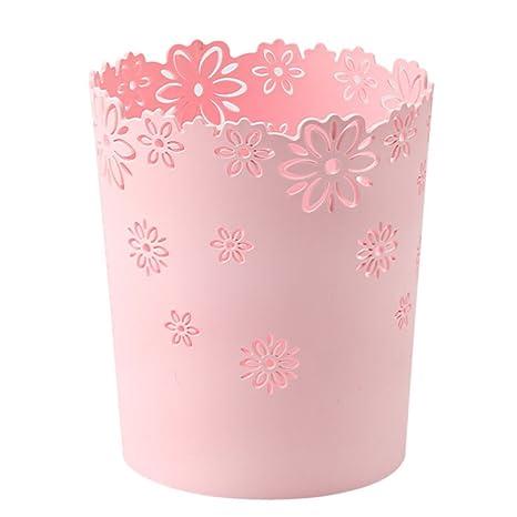 Vicoki Abfalleimer aus Kunststoff f/ür B/üro Rosa 19/×15.5/×22cm /Ø 19cm K/üche oder Bad Papierkorb H 22cm