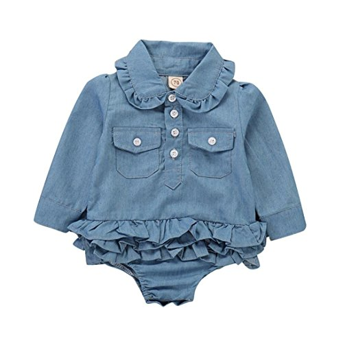 SUNTEAMO Toddler Baby Girls Long Sleeve Denim Playsuit Jumpsuit Romper Clothes (Blue, 90)