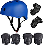Skateboard/Skate Protection Set with Helmet - SymbolLife Helmet with 6pcs Elbow Knee Wrist Pads for Kids BMX/S