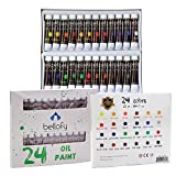 Bellofy 24-Color Oil Paint Set - 24 x 12 ml / 0.4 oz - Oil Paint Kit For Artists and Beginners - Painting Art - Artist Paint - Best Art Brand for Painting and Drawing Accessories Online