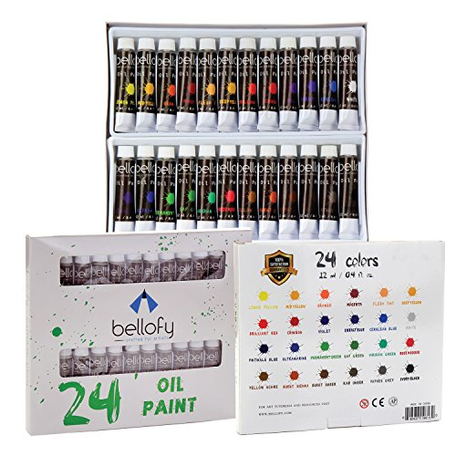 Bellofy 24-Color Oil Paint Set - 24 x 12 ml / 0.4 oz - Oil Paint Kit For Artists and Beginners - Painting Art - Artist Paint - Best Art Brand for Painting and Drawing Accessories - Colors Paint Oil Oil