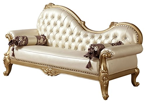 Hand Carved Chaise (Meridian Furniture 676-CH Benito Leather Upholstered Solid Wood Chaise Lounge with Rolled Arms, Traditional Hand Carved Designs, and Crystal Button Tufting, Rich Gold Finish)