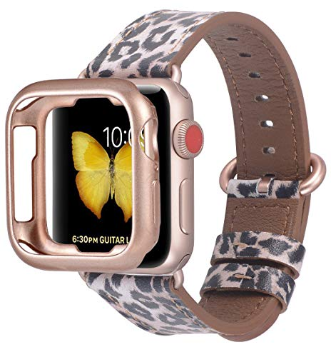 JSGJMY Compatible with Apple Watch Band 38mm 40mm with Case,Women Genuine Leather Strap with Rose Gold Adapter and Buckle(The Same Color as Series 4/3 Gold Aluminum) for iwatch Series 4/3/2/1, Leopard