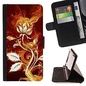 - ART NATURE ROSE PLANT FIRE MAGICAL FLOWER - - Prima caja de la PU billetera de cuero con ranuras para tarjetas, efectivo desmontable correa para l Funny House FOR Samsung Galaxy S6 EDGE