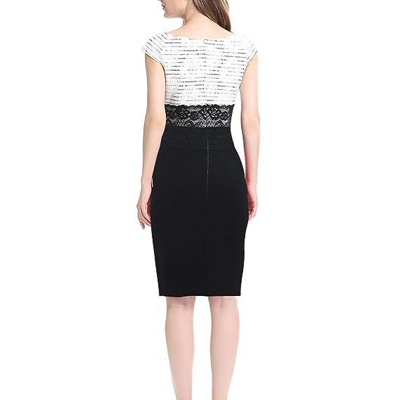 Dxlta Vestidos para mujeres - Vestido de patchwork de encaje sin mangas adelgazan los vestidos de lápiz de la oficina: Amazon.es: Ropa y accesorios