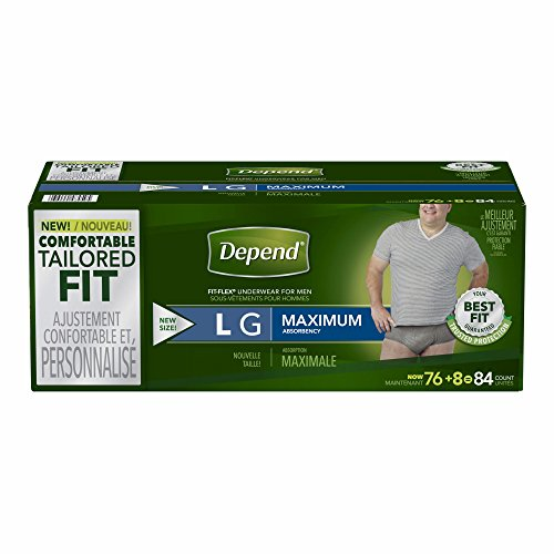 Depend Fit-Flex Large Maximum Absorbency Underwear for Men, 84 ct. (Express Underware)