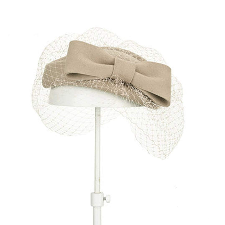 Women Fascinators Vintage Bow Fedora Lady 100/% Wool Fedoras Women Church Hat Wedding Fascinators KRASTAL