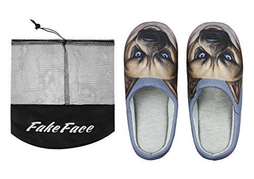 Fakeface Womens Heren Indoor Warme Fleece Slippers, Cute Cartoon Winter Zachte Fuzzy Slip-on Slipper Booties Antislip Rubberen Zool Cozy Pluche Mules Thuis Slaapkamer Glijbaan Schoenen Enkellaars Thermisch Huis Slippe Marine, Hond