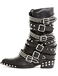 Draco Stud Hidden Wedge Pointed Embelished Moto Leather Boots