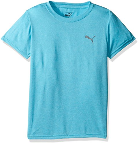 PUMA Big Boys' Logo Heather Tee, Blue Atoll Heather, Large (14/16)