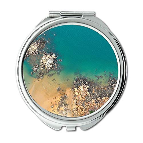 Mirror,makeup mirror,aerial shot aerial view beach,Pocket Mirror,portable -