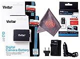 2 Pack of LP-E10 Vivitar Ultra High Capacity Rechargeable 1100mAh Li-ion Batteries + AC/DC Vivitar Rapid Travel Charger + Microfiber Lens Cleaning Cloth LPE10 (Canon LP-E10 Replacement)