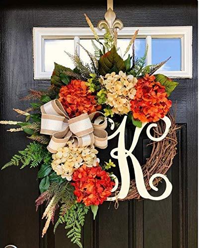 Monogram Wreath, Front Door Wreath, Hydrangea Door Wreath, Summer Wreath, Fall Wreath
