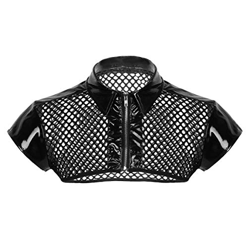 Harness Leather Patent - MSemis Men's Patent Leather Mesh Fishnet Splice See Through Muscle Shoulder Chest Harness Half Tank Top Black Large