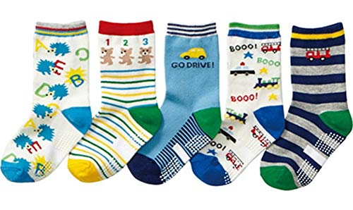 Baby Boy Socks 6 Pack Cute Cartoon Cotton with Grips Toddler Anti Slip Ankle Walker Crew Socks 0-36 Months