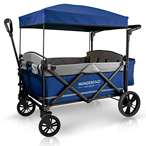WonderFold Baby XXL 4-Passenger Pull/Push Quad Stroller Wagon with Adjustable Handle Bar, Removable Canopy, Safety Seats with 5-Point Harness, One-Step Foot Brake (Navy)