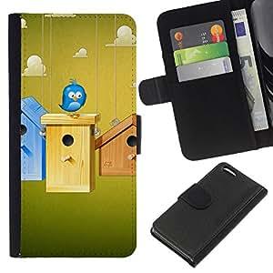 A-type (Pájaro azul lindo) Colorida Impresión Funda Cuero Monedero Caja Bolsa Cubierta Caja Piel Card Slots Para Apple iPhone 5C