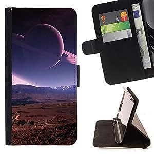 BullDog Case - FOR/Sony Xperia m55w Z3 Compact Mini / - / saturn rings planet mars view red desert space /- Monedero de cuero de la PU Llevar cubierta de la caja con el ID Credit Card Slots Flip funda de cuer