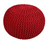 Queenz Living 100% Cotton Hand Knitted Twisted Cable Style Dori Pouf/Floor Ottoman Size 20'' Inches Diameter 14'' Inches Height (Burgundy)
