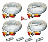 ACELEVEL 4 PACK PREMIUM 100Ft.THICK BNC EXTENSION CABLES FOR NIGHTOWL SYSTEMS WHITE