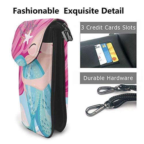Hdadwy mobiltelefon crossbody väska sjöjungfru liten fisk kvinnor PU-läder mode handväska med justerbar rem