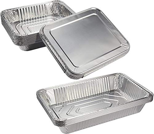 Aluminum Foil Pans Set - 6-Piece Full Size Deep Pan and 12-Piece Half Size Deep Disposable Steam Pans with Lids for Baking, Roasting, Broiling, Cooking, 20.5 x 3 x 13 and 12.75 x 2.25 x 10.25 Inches (Pan Deep Steam)