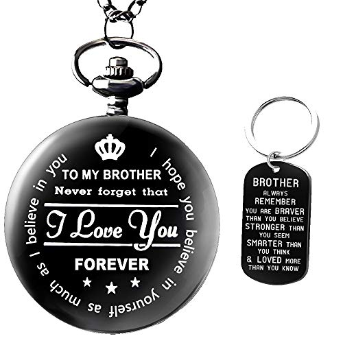 to My Brother Pocket Watch Gifts for Brother Best Gifts for Him Birthday Gifts from Sister, Graduation Gifts for Men,Engraved Pocket Watch with Gift Box for Men with Brother Keyring