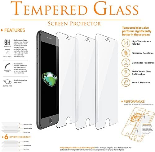 100 Pack KIQ Glass Screen Protector for iPhone 6 Tempered Glass Case-Friendly Anti-Scratch Bubble Free Self-Adhere