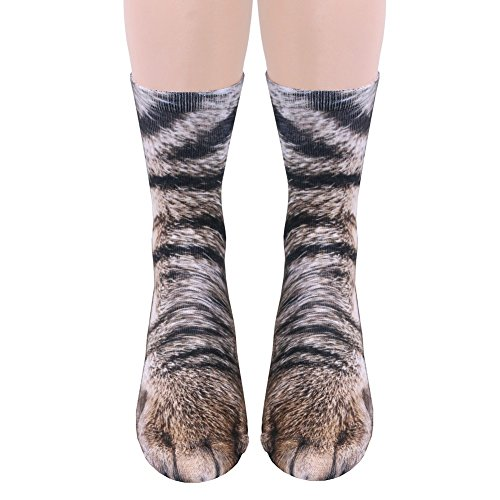 Unisex Adult Animal Paw Crew Socks - Sublimated Print - Cat ()
