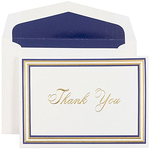 JAM Blank Card Sets - Thank You Cards - Navy & Gold Borde...