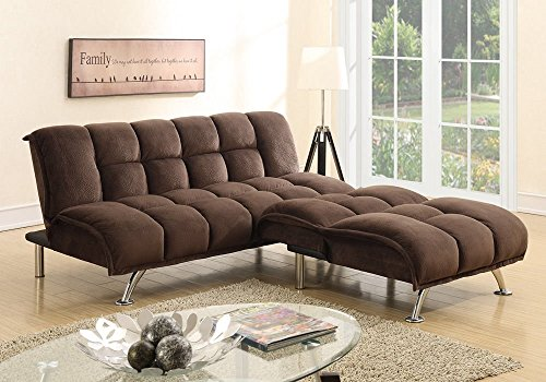 1PerfectChoice Modern Adjustable Sofa Futon Bed Chair Sectional Chaise  Chocolate