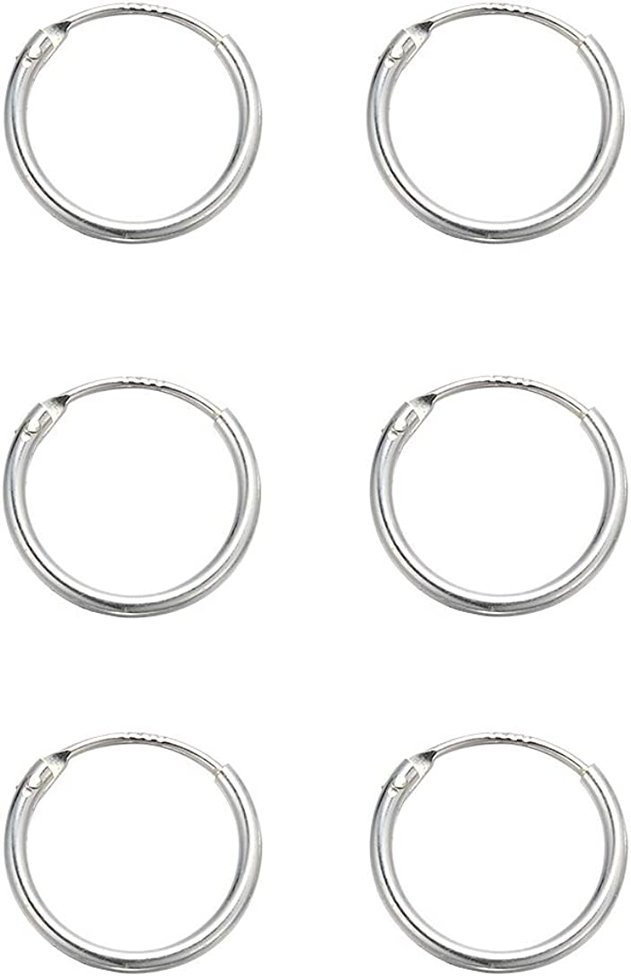 Small Silver Hoop Earrings for Cartilage - 3 Pairs 8mm Mini Hoop Earrings Endless Small Hoop Earrings Set for Tragus Nose Lip Rings Hypoallergenic 925 Sterling Silver Hoop Earrings for Women Men Gifts