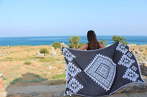 Bersuse 100% Cotton - Yucatan Turkish Towel - Peshtemal Bath Beach Towel - Aztec Design - Dual-Layer, Oeko-TEX - 39 x 71 Inches, Black (Set of 3)