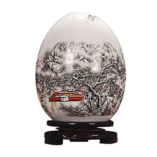LKXHarleya Antique Chinese Enamel Ceramic Vase Lucky Egg Porcelain Vase Blue White Painted Pottery Vase Home Decoration