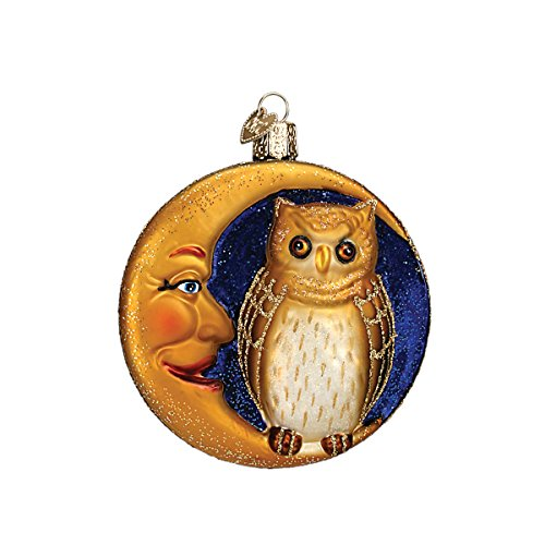 Old World Christmas Owl In Moon Glass Blown Ornament