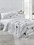 2 Pcs Twin and Single Bedroom Bedding Soft Colored [65% Cotton 35% Polyester (Cover)] / 100% FIBER (Filling) / Single Quilted Bedspread Set Soft Relaxed Design Comfortable Pattern Bird Music Animal Si