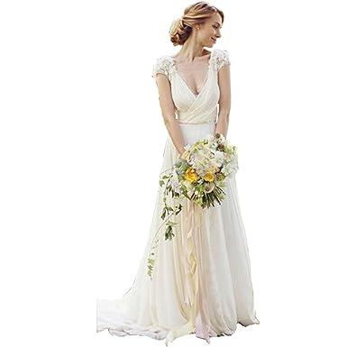 4c5b8512382 DingDingMail Deep V-Neck Lace Wedding Dresses Keyhole Back Wedding Dresses  Cap Sleeves Chiffon Bridal Gowns at Amazon Women s Clothing store