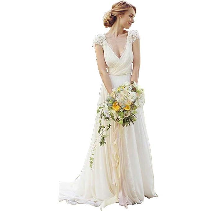 Dingdingmail Deep V Neck Lace Wedding Dresses Keyhole Back