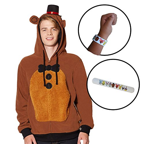 Bioworld FNAF 3 Five Nights at Freddy's Freddy Fazbear Adult Sweater Hoodie With Bracelet (Small) - Adult Freddy Sweater