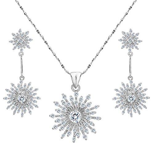EVER FAITH Women's 925 Sterling Silver CZ Elegant Snowflake Necklace Earrings Set - Sterling Silver Snowflake Earrings