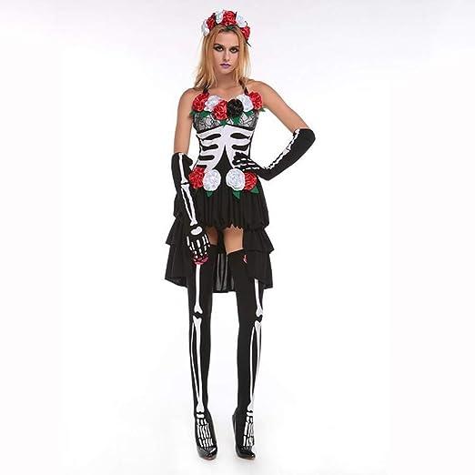 Yunfeng Halloween Bruja Disfraz para Mujer Momificados Novia Bruja ...