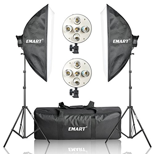 Emart 20″ x 28″ Softbox Photography Light Kit, 2250 Watt Photo Video Equipment Soft Studio Continuous Lighting Kit