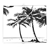 Society6 Black And White Palm Tree With Hawaii Summer Sea Beach 88'' x 104'' Blanket