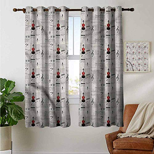 Bedroom Curtains 2 Panel Sets Old Newspaper,Musical Notes Violin,Complete Darkness, Noise Reducing Curtain 42