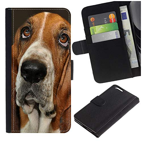 Colorful Pattern Flip Wallet Leather Holster Protective Skin Case for Samsung Galaxy S9+ / G965U/G965W (Bassett Dog) ()