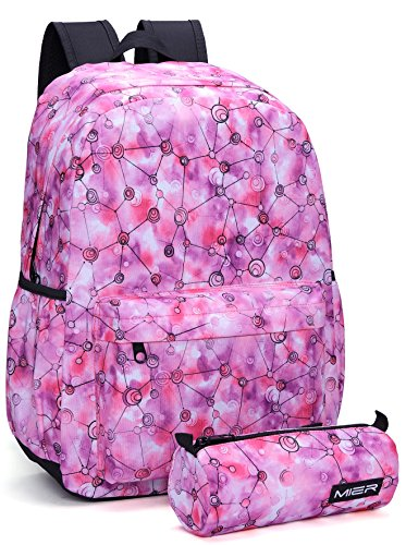 MIER Student School Backpack Bookbag Casual Daypack for Teenage Girls, Boys, Childrens (pink net pattern)