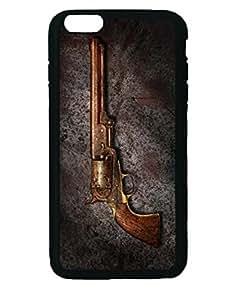 Gun - Colt Model 1851 - 36 Caliber Revolver Silicone Rubber Non-slip Protective Cover Case Skin For iPhone 6 Plus 5.5-inches Black Case