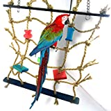 Pet Supplies Parrot Bird Cage Toy Game Hanging Rope Climbing Net Swing Ladder Parakeet Budgie Macaw Play Activity Gym Toys for Small Bird