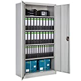 TecTake Storage cupboard filing cabinet grey | shelves 2-door and lock system - different sizes - (180x90x40x cm | no. 402483)
