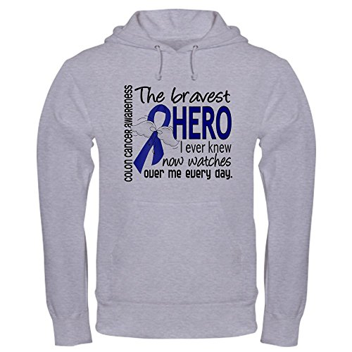 CafePress Bravest Hero I Knew Colon Cancer Hooded Sweatshirt Pullover Hoodie, Classic & Comfortable Hooded Sweatshirt Heather Grey